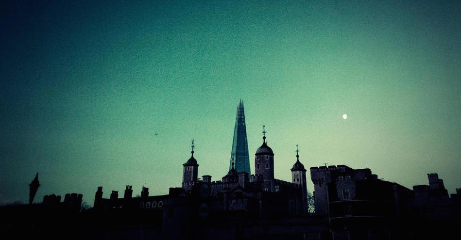 The Shard, the moon and the old churches of London