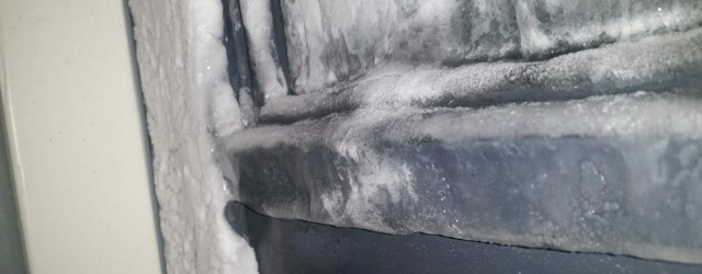 Windows in Finland iced on the inside