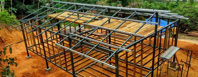 Top down view of the steel structure of the Malaysian jungle cabin
