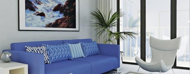 Interior design of a PassivHaus apartment in blue