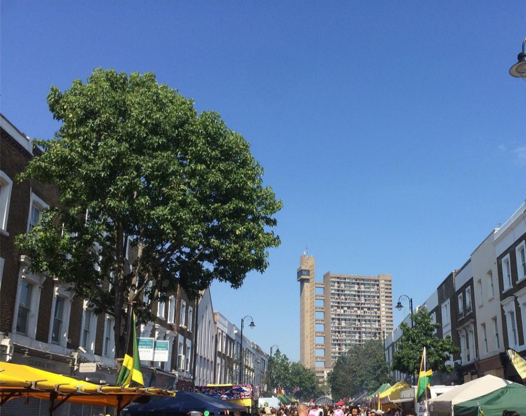 Trellick Tower in the distance as seen from Golbourne Road
