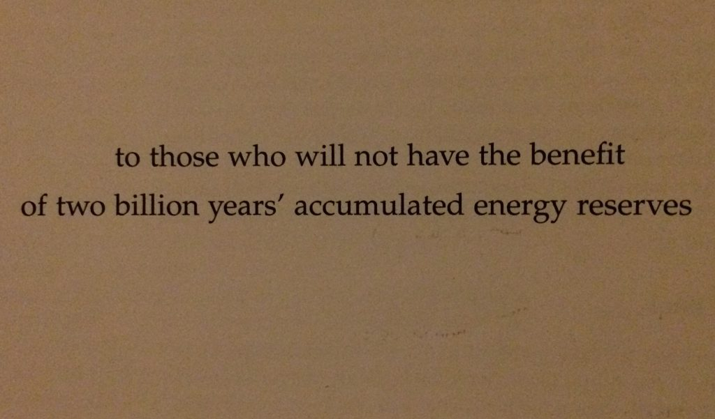 to those who will not have the benefit of two billion years' accumulated energy reserves - David Mackay