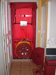 Blower door for building regulations
