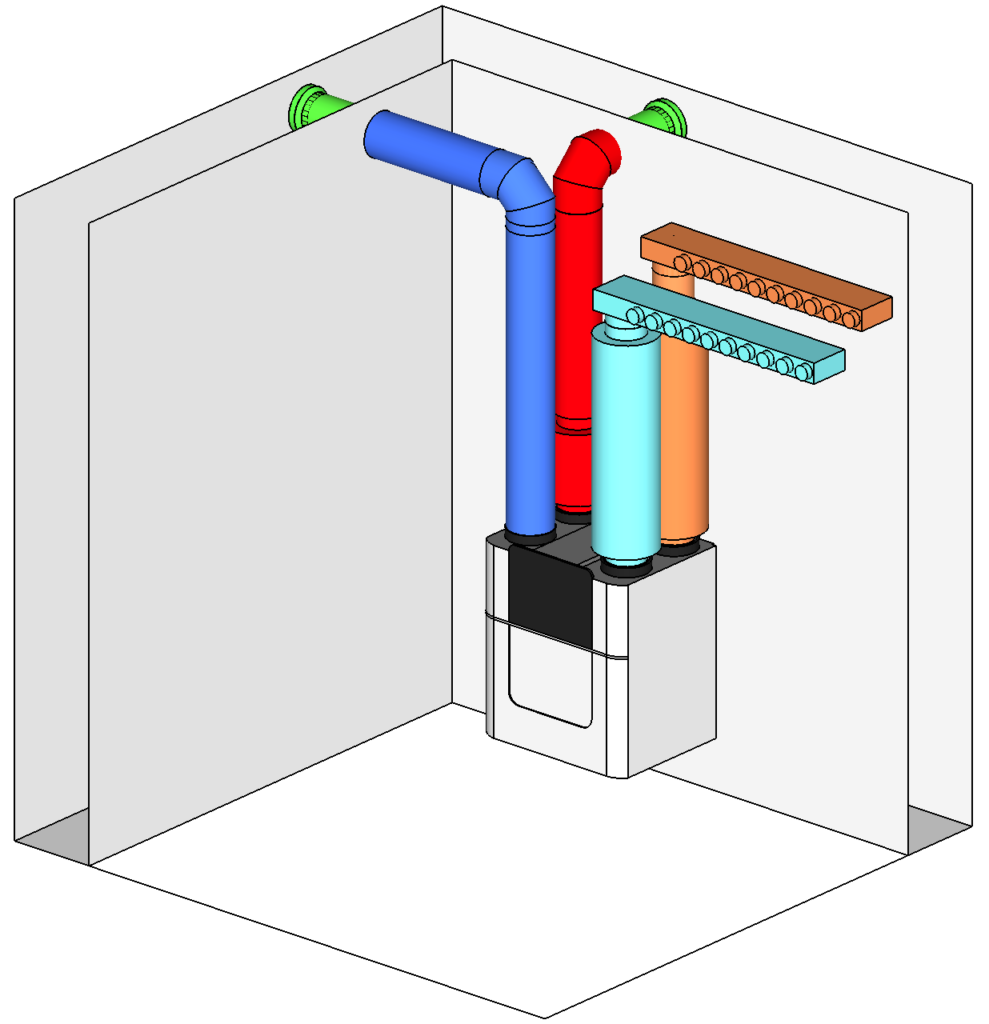 Example of a simple 3D MVHR design with sound attenuator drums and manifolds