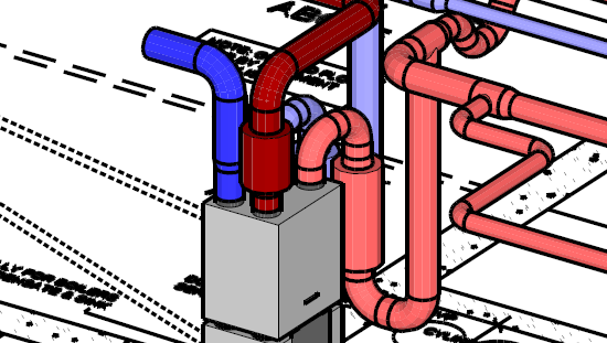 Complicated ducting for an MVHR system with ComfoCool