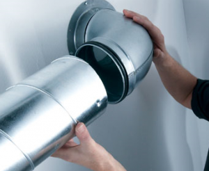 rubber-sealed rigid steel ducting push-fit for an MVHR system