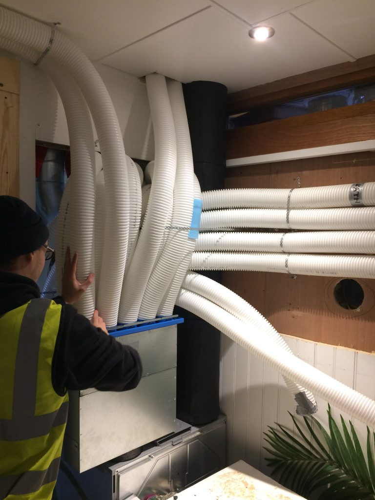 Radial ComfoTube ducting as it enters the MVHR manifolds