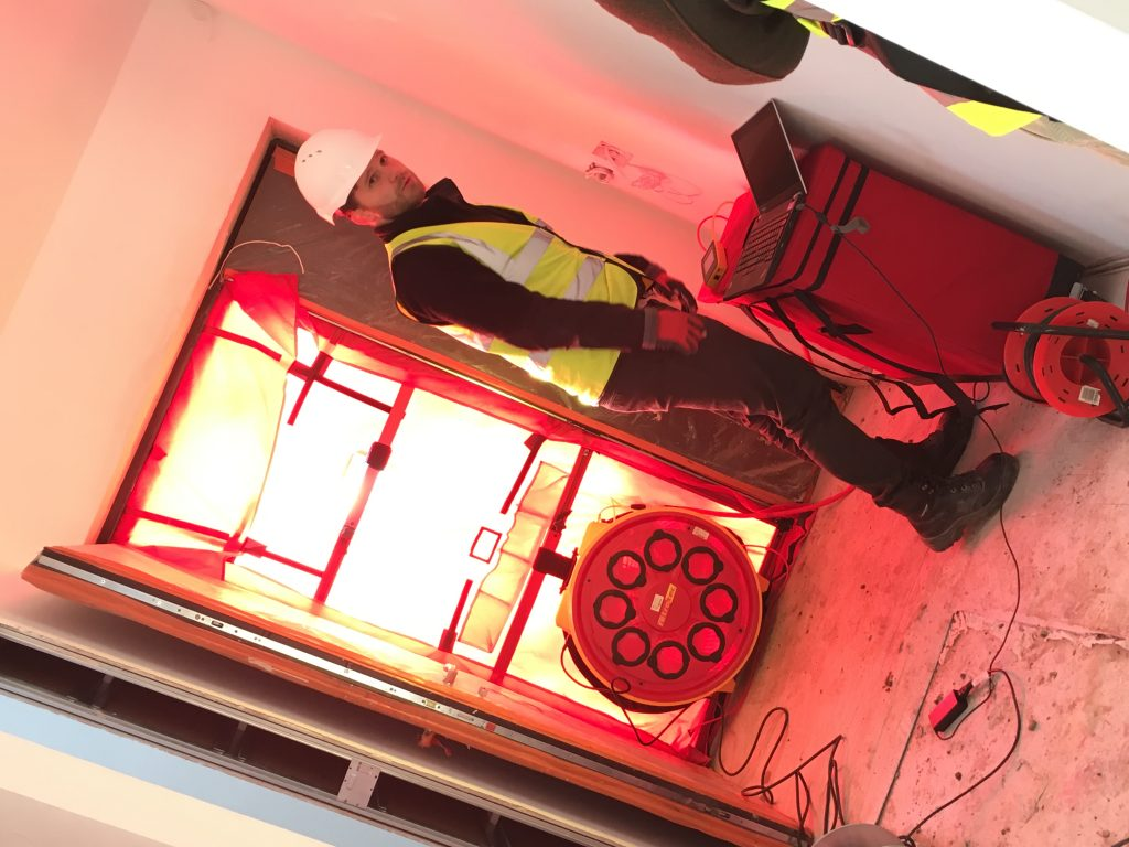 Building Regulations Airtightness test - blower door fan in position
