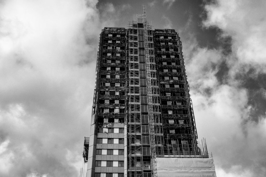 White scaffolding on Grenfell Tower January 2018