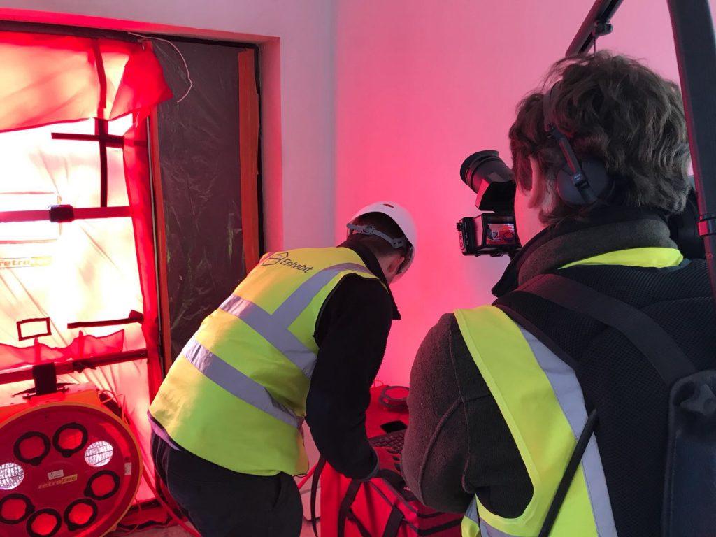 Level 2 airtightness testing with blower door fan
