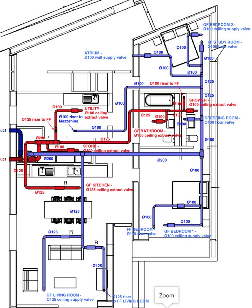 MVHR system design in a branch layout - HeatSpaceandLight