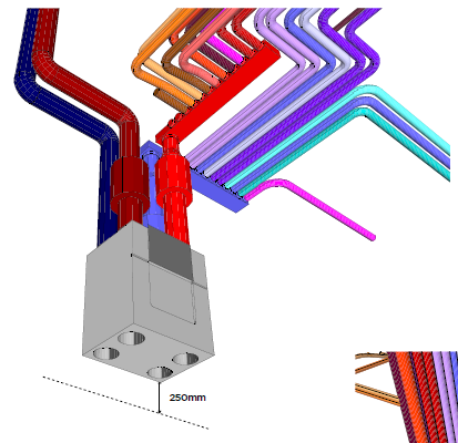 Typical 3D image of an MVHR system with ducting and manifolds