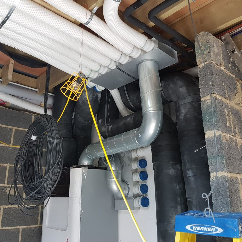 MVHR radial ductwork installed in a manifold system - Enhabit 2019