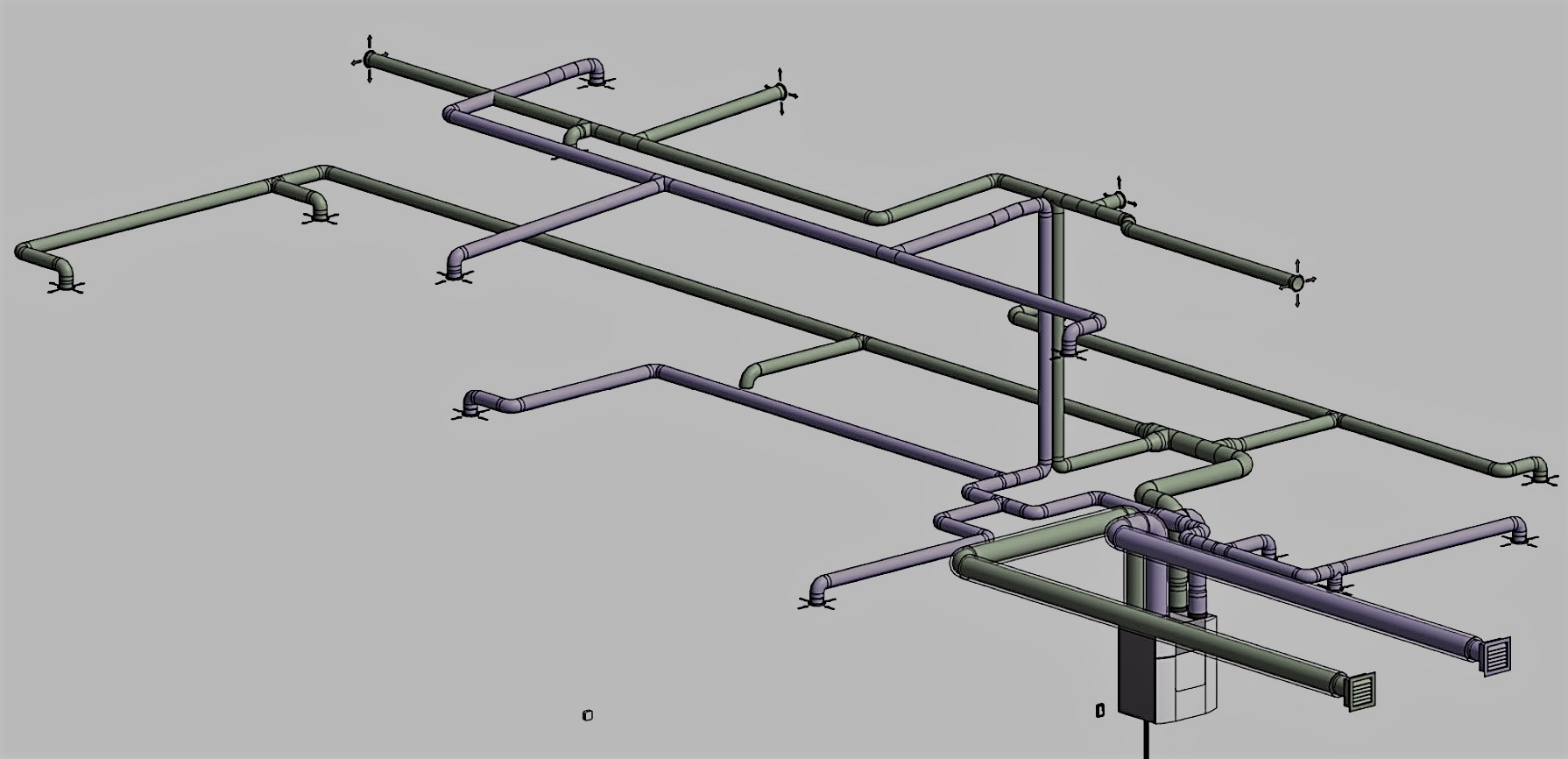 Poor MVHR detailed ductwork design 3D overview image
