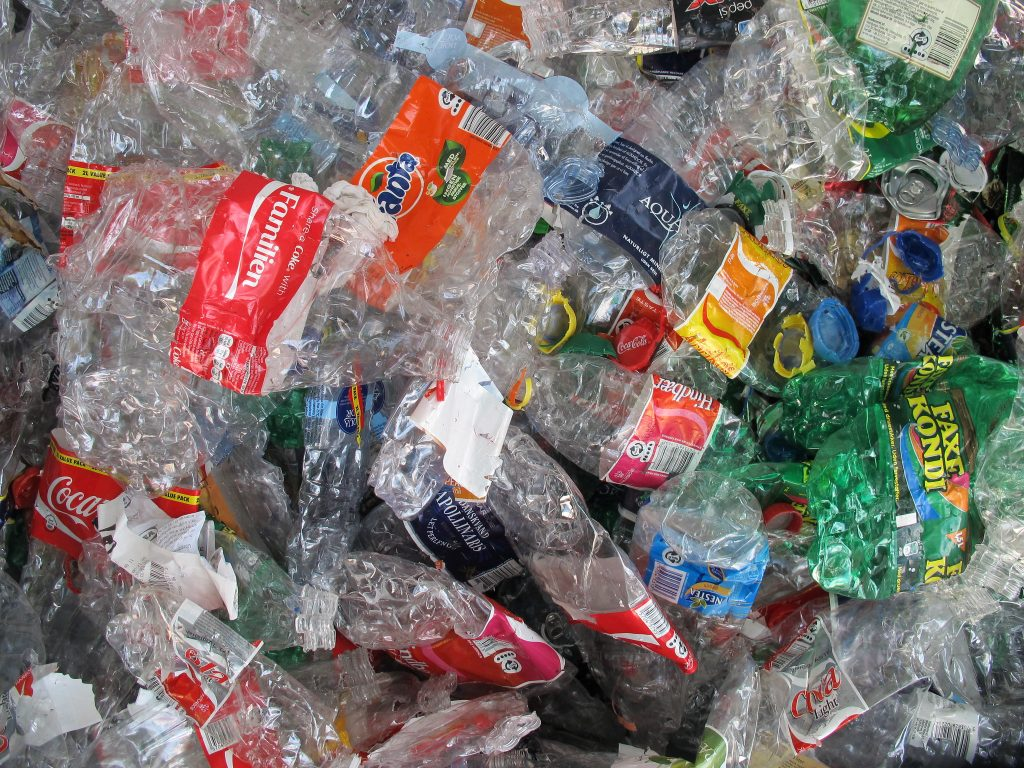 Plastic crushed and collected to be recycled hopefully