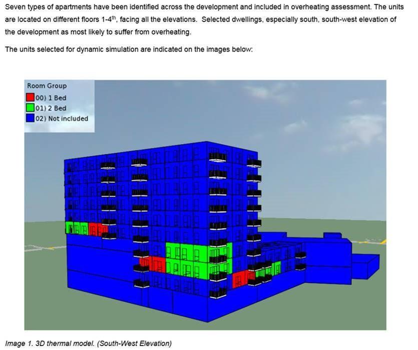 Screenshot from overheating analysis report of modern London new build flat