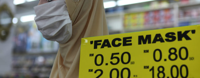 Single use face masks on sale in Malaysia during Corona virus scare