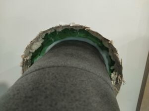 An external pre-insulated MVHR duct sealed with airtightness tape