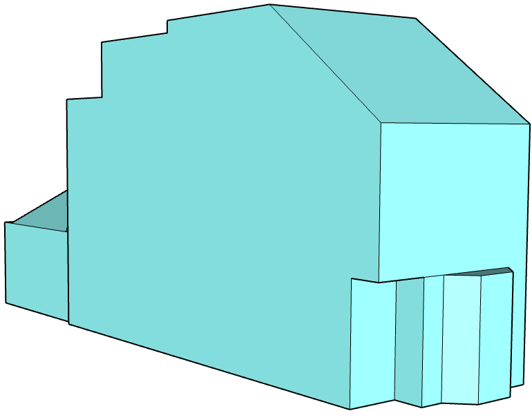 Airtightness boundary area 3D model we build to calculate the Air Pressure Test