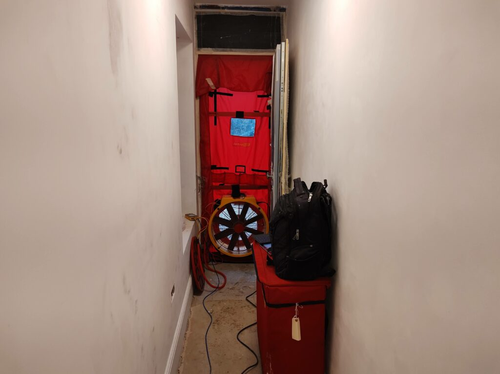 Airtightness Test Kit mounted in hallway of London retrofit 2021