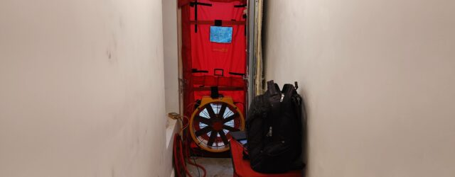 Airtightness Test Kit mounted in hallway of London retrofit 2021