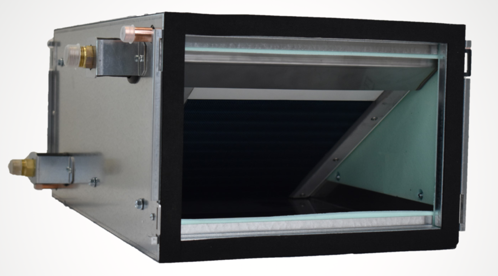 MVHR Heater/Chiller Coil can be linked to a reversible heat pump