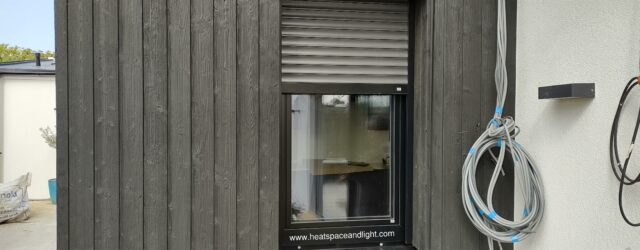 External shading blinds incorporated into windows to keep home cool in summer - Heat, Space and Light Ltd 2021