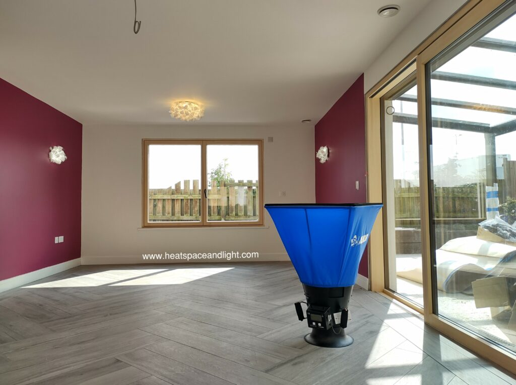 Heat, Space and Light MVHR Commissioning equipment in a new build home in Oxford