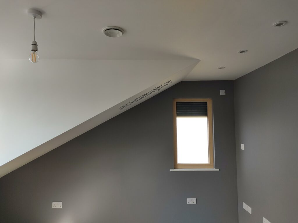Heat, Space and Light-designed MVHR valve in finished home featuring external shading on windows in Oxford New Build